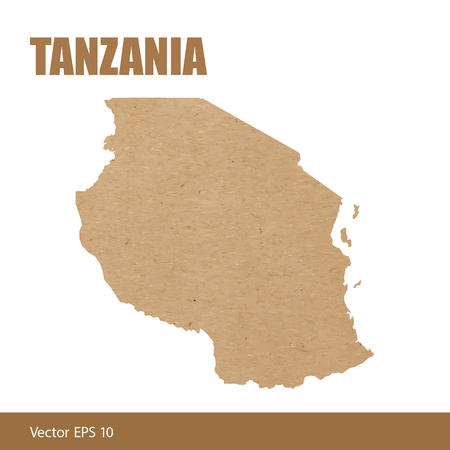 Detailed map of Tanzania cut out of craft paper or cardboard Standard-Bild