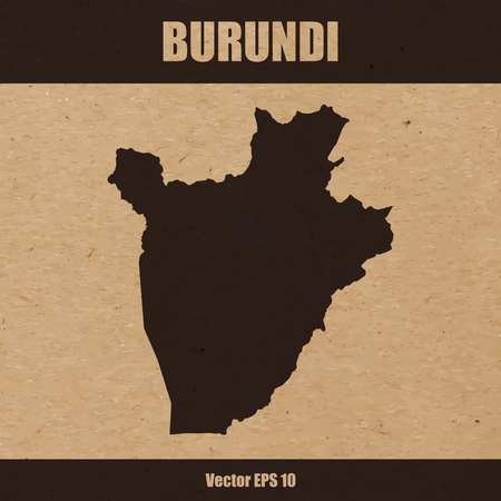 Detailed map of Burundi on craft paper or cardboard