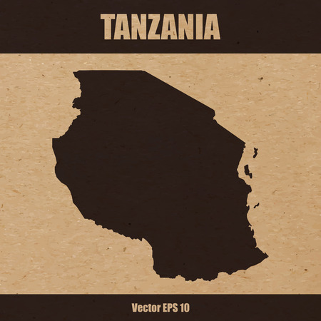Detailed map of Tanzania on craft paper or cardboard Standard-Bild