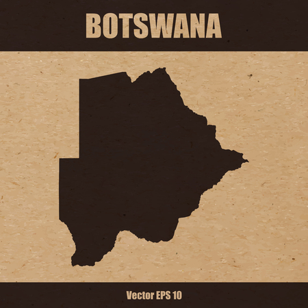 Detailed map of Botswana on craft paper or cardboard
