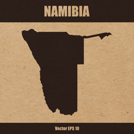 Detailed map of Namibia on craft paper or cardboard