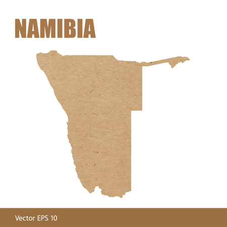 Detailed map of Namibia cut out of craft paper or cardboard
