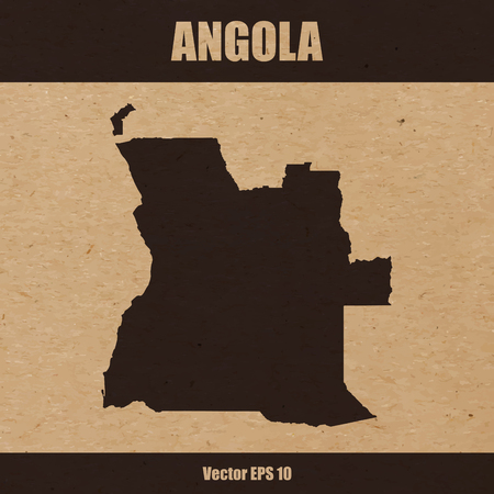 Detailed map of Angola on craft paper or cardboard