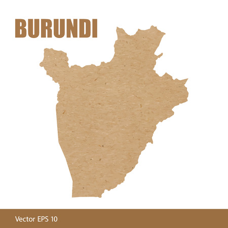 Detailed map of Burundi cut out of craft paper or cardboard