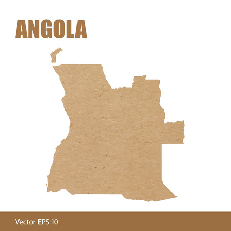 Detailed map of Angola cut out of craft paper or cardboard