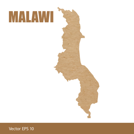Detailed map of Malawi cut out of craft paper