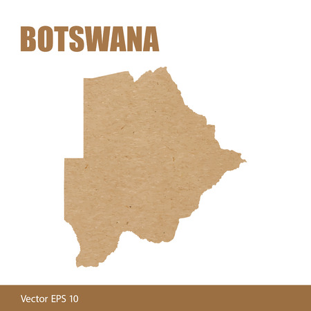 Detailed map of Botswana cut out of craft paper or cardboard