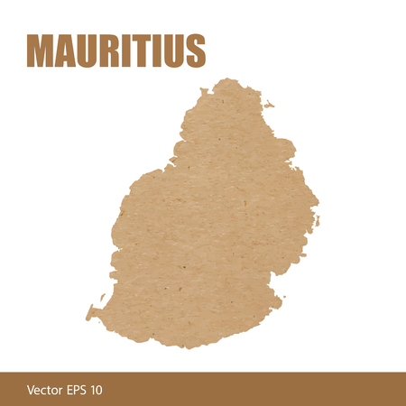 Detailed map of Mauritius cut out of craft paper or cardboard