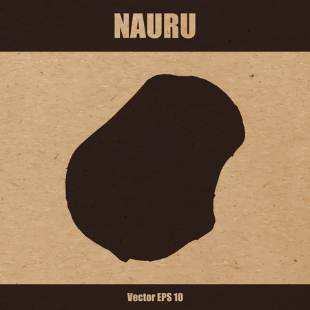 Detailed map of Nauru on craft paper or cardboard