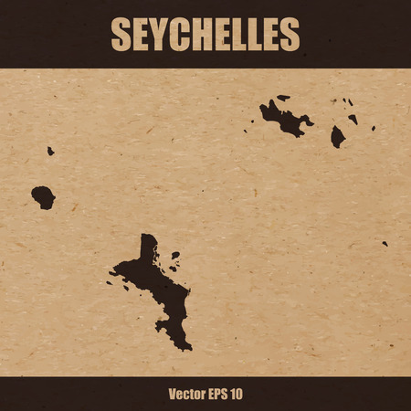 Detailed map of The Seychelles on craft paper or cardboard Illustration