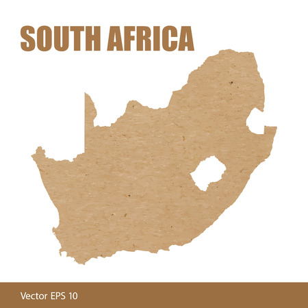 Detailed map of South Africa cut out of craft paper or cardboard