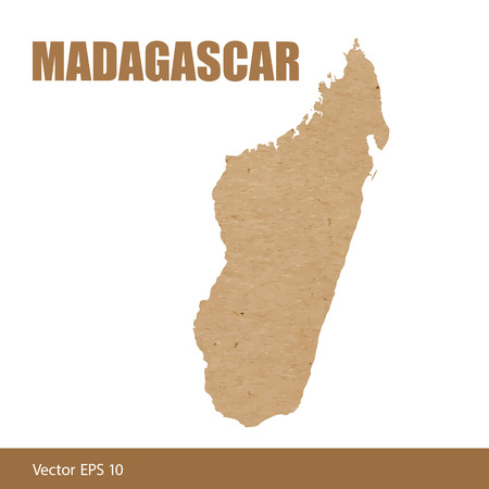Detailed map of Madagascar cut out of craft paper or cardboard