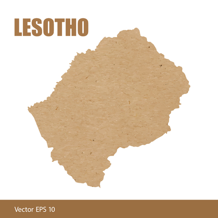 Detailed map of Lesotho cut out of craft paper or cardboard