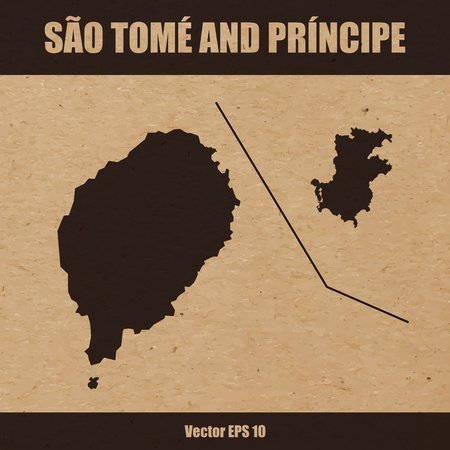 Detailed map of Sao Tome and Principe on craft paper or cardboard