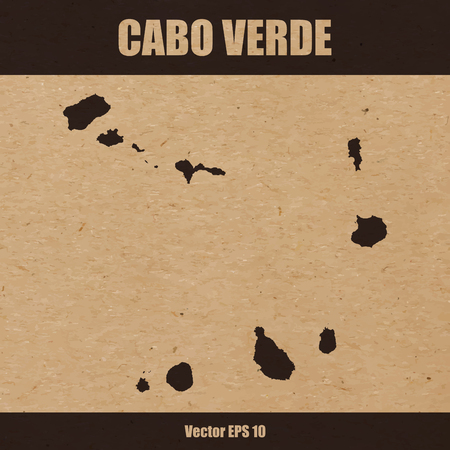 Detailed map of Cabo Verde on craft paper or cardboard