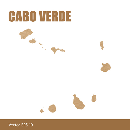 Detailed map of Cabo Verde cut out of craft paper or cardboard