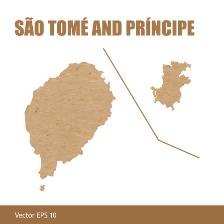 Detailed map of Sao Tome and Principe cut out of craft paper or cardboard
