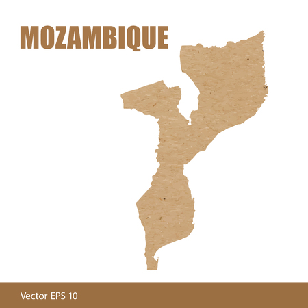 Detailed map of Mozambique cut out of craft paper or cardboard