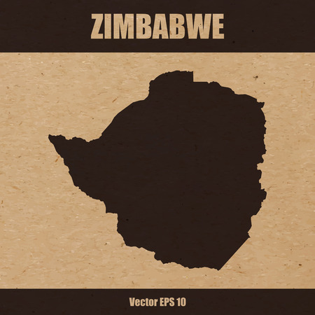 Detailed map of Zimbabwe on craft paper or cardboard