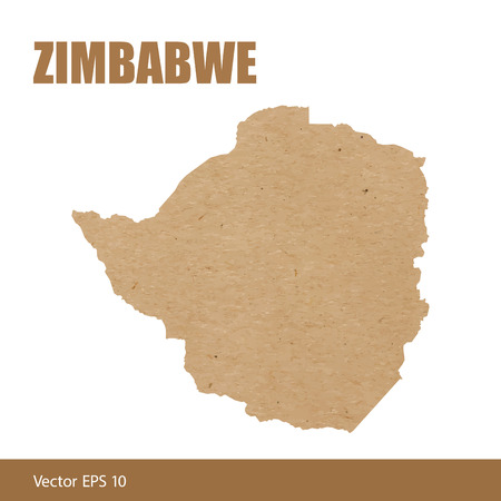Detailed map of Zimbabwe cut out of craft paper or cardboard 版權商用圖片 - 112654978