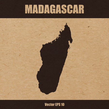 Detailed map of Madagascar on craft paper or cardboard