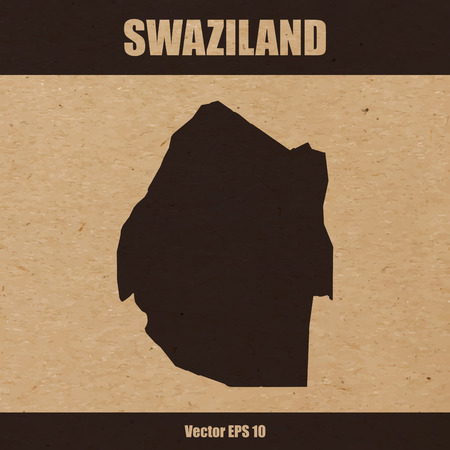 Detailed map of Swaziland on craft paper or cardboard Illustration