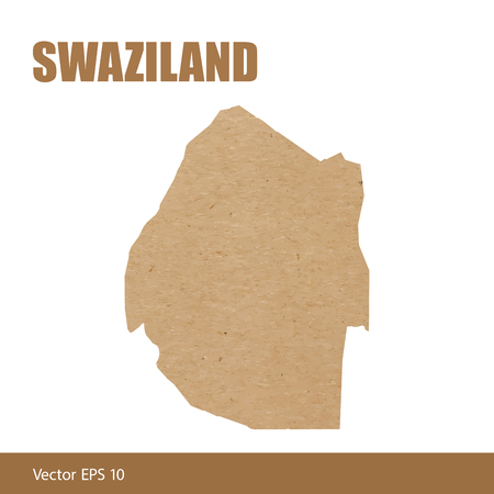 Detailed map of Swaziland cut out of craft paper or cardboard Illustration