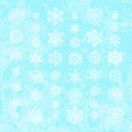 Set of white snowflakes silhouettes isolated on abstract vector background in blue colors. Flat snow icons for christmas cards, banners, wrapping paper. Winter holiday Xmas or New Year 2019 decoration Ilustração
