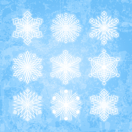 Set of white snowflakes silhouettes isolated on abstract vector background in blue colors. Flat snow icons for christmas cards, banners, wrapping paper. Winter holiday Xmas or New Year 2019 decoration Иллюстрация
