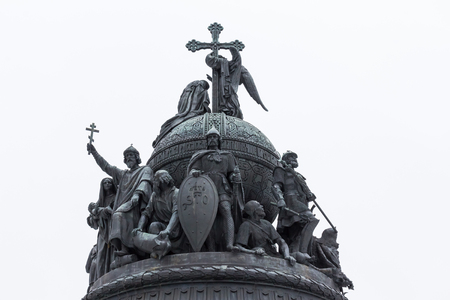 The top part of the Millennium of Russia bronze monument 1862 in Veliky Novgorod Kremlin