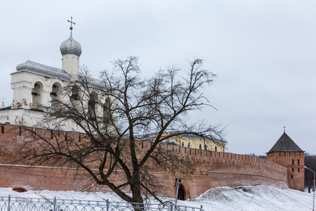 The belfry of Saint Sophia Cathedral behind the Kremlin Wall in Veliky Novgorod Great Novgorod , Russia.