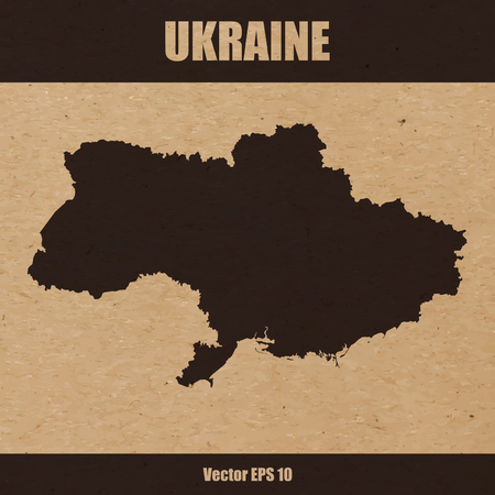 Vector illustration of detailed map of Ukraine on craft paper or cardboard