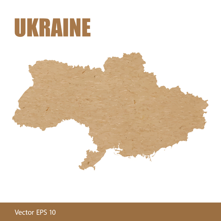 Vector illustration of detailed map of Ukraine cut out of craft paper or cardboard Illustration
