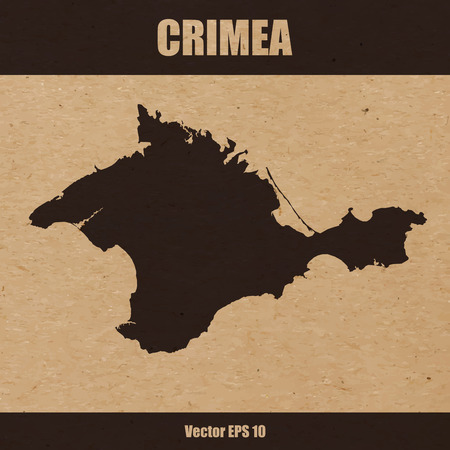 Vector illustration of detailed map of Crimea on craft paper or cardboard