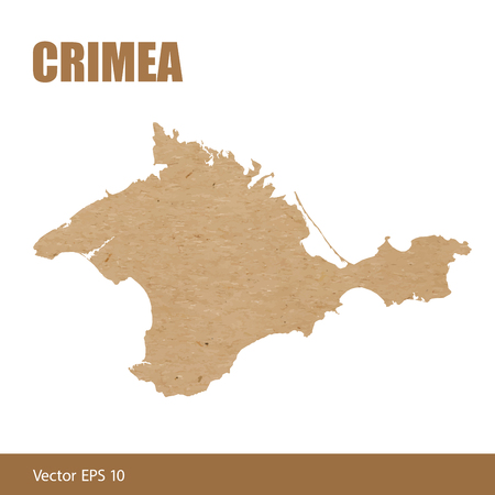 Vector illustration of detailed map of Crimea cut out of craft paper or cardboard
