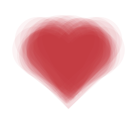 Vector illustration of vibrating red heart the symbol of love. Happy valentines day greeting card. EPS 10