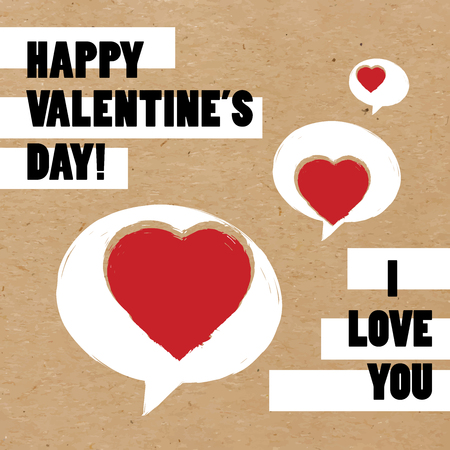 Vector illustration of Happy Valentines Day greeting card with speech bubbles and hearts