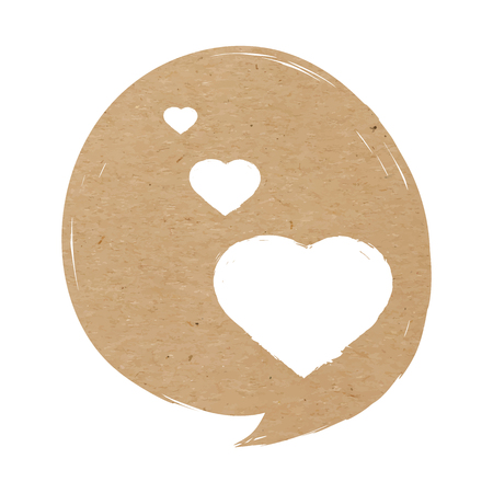 Vector illustration of craft paper textured speech bubble with hearts, valentine card, love symbol, isolated on white background