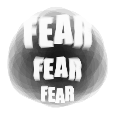 Vector illustration of word Fear on dark background. Psychological problem concept Ilustração