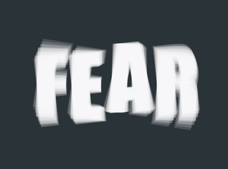 Vector illustration of word Fear on dark background. Psychological problem concept Иллюстрация