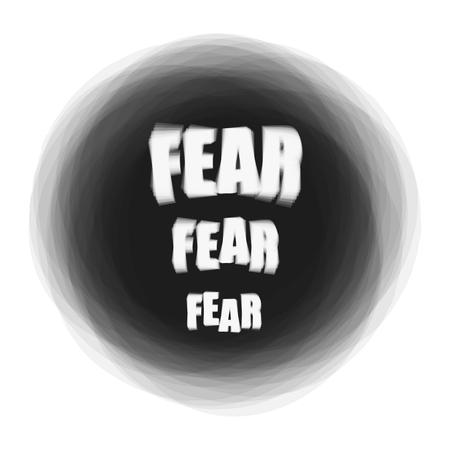 Vector illustration of word Fear on dark background. Psychological problem concept Illustration