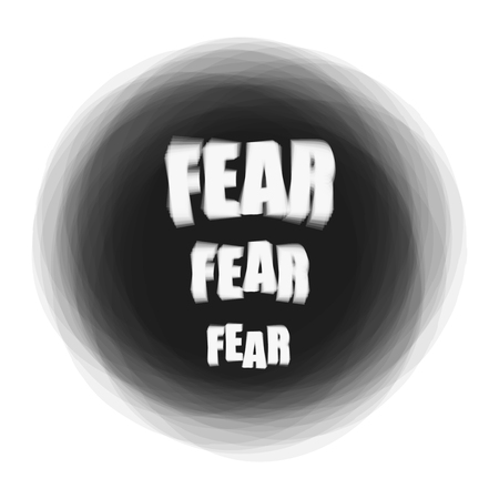 Vector illustration of word Fear on dark background. Psychological problem concept Ilustrace