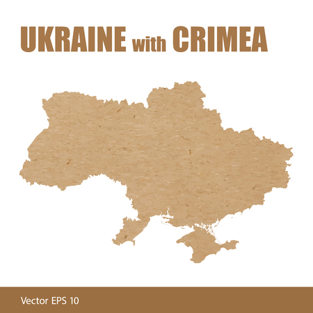 Vector illustration of detailed map of Ukraine with Crimea cut out of craft paper or cardboard Ilustração