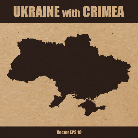 Detailed map of Ukraine with Crimea on craft paper or cardboard Ilustração