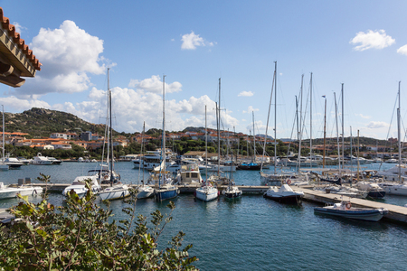 View of marina in Porto Rotondo on the italian island Sardinia Banco de Imagens