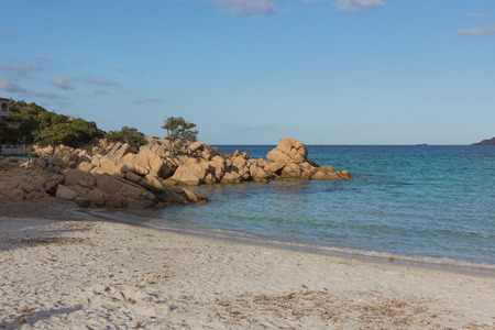 Costa Smeralda seascape with rocks and beautiful turquoise water. Beach in Sardinia island, Italy