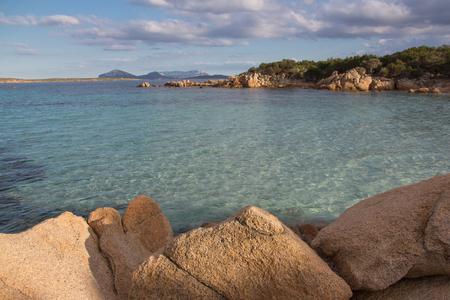 Costa Smeralda seascape with rocks and beautiful turquoise water. Beach in Sardinia island, Italy 版權商用圖片 - 123269460