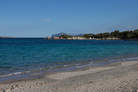 Costa Smeralda seascape with beautiful turquoise water. Beach in Sardinia island, Italy 版權商用圖片 - 123269465