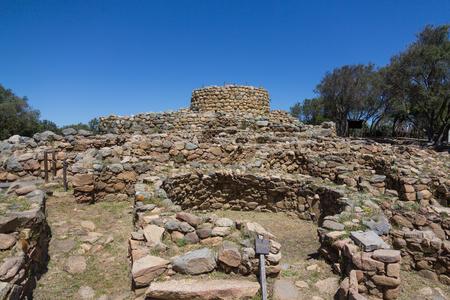 Nuraghe complex. The symbol of Sardinia - ancient megalithic Nuraghe towers, Italy 版權商用圖片 - 124156137