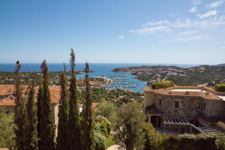 Costa Smeralda landscape with a view on Porto Cervo harbour. Sardinia island, Italy